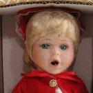 Crowne Fine Porcelain Doll Holly Vintage 1998 Stand COA NIB Green Coat Bonnet