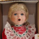Crowne Fine Porcelain Doll Holly Vintage 1998 Stand COA NIB Red Dress
