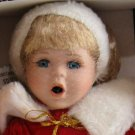 Crowne Fine Porcelain Doll Holly Vintage 1998 Stand COA NIB Red Coat