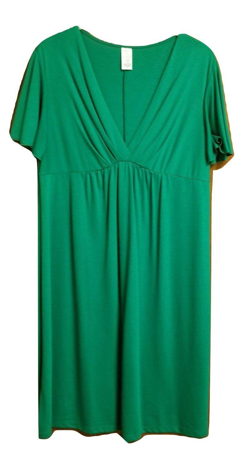 Plus Size V Neck Dress XL Green Knee Length Flutter Sleeves Casual Work
