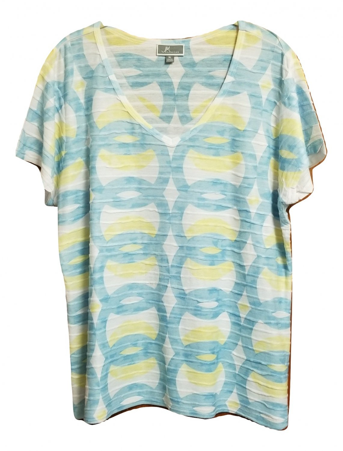 JM Collection Top Womens Size XL Blue Yellow Short Sleeve V-Neck Abstract Print