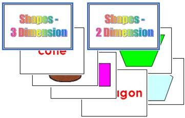 2D & 3D Shapes Flash Cards - (English)
