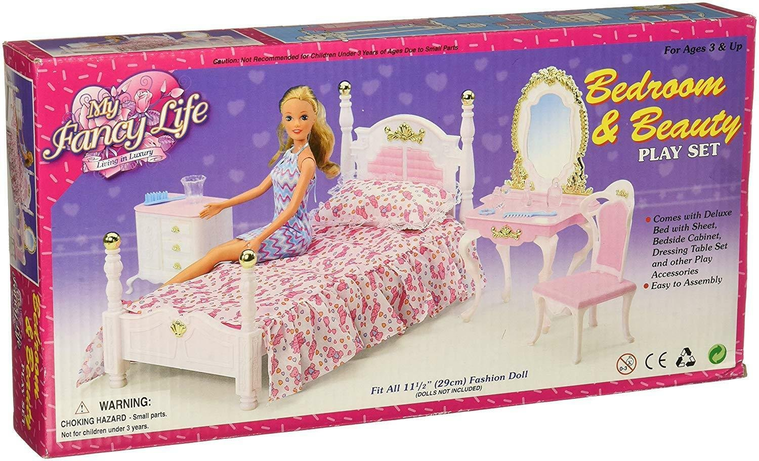 My Fancy Life Barbie Size Dollhouse Furniture Bed Room & Beauty Play Set