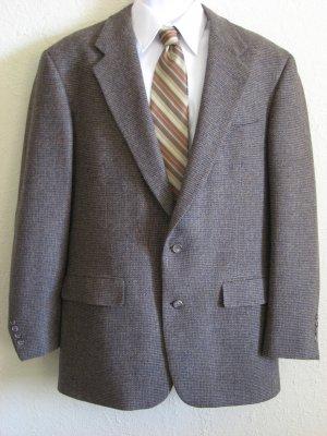 100% Wool Mens Sport Coat Jacket 42L Brown Tweed