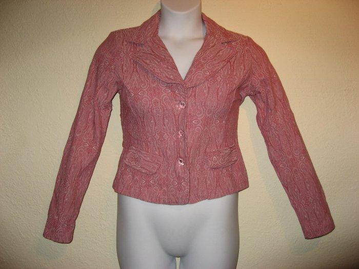 Gorgeous Womens Rose Pink Paisley Jacket Blazer Medium/Large