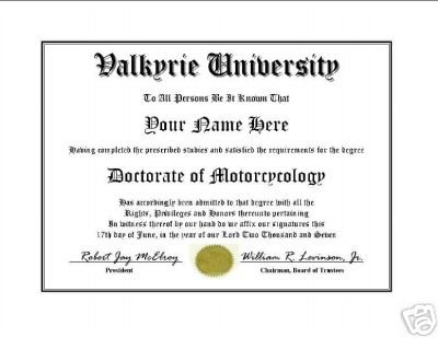 Diploma for Honda VALKYRIE motorcycle owner