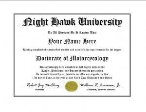 Diploma for Honda NIGHT HAWK motorcycle owner