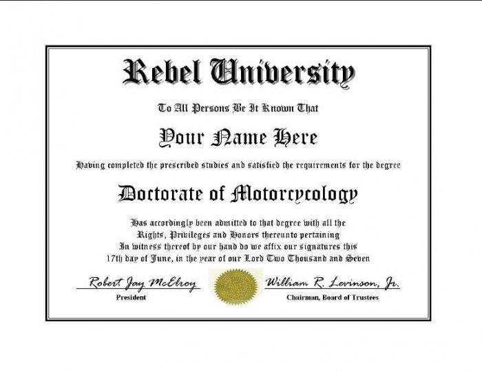 Diploma for Honda REBEL motorcycle owner
