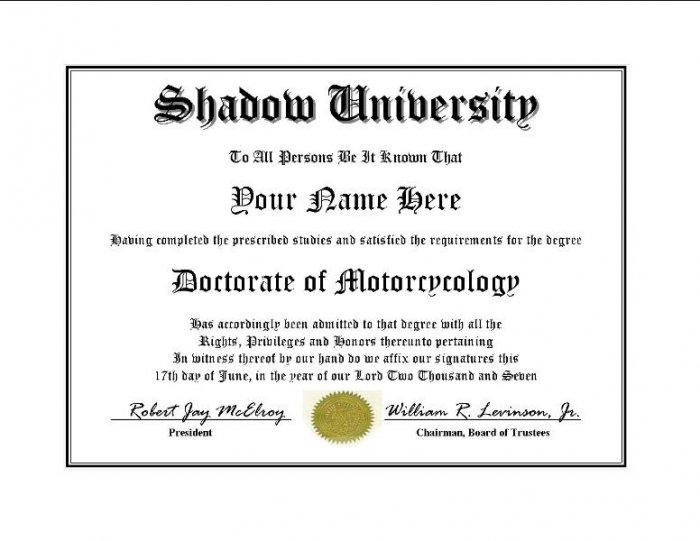 Diploma for Honda SHADOW motorcycle owner