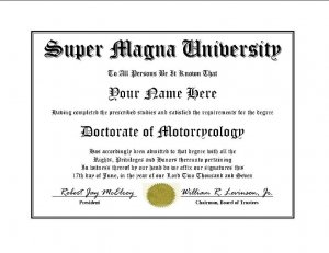 Diploma for Honda SUPER MAGNA motorcycle owner