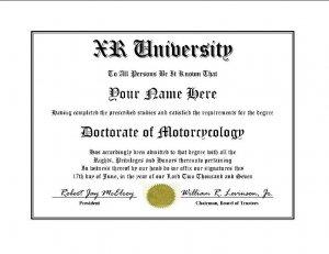 Diploma for Honda XR motorcycle owner