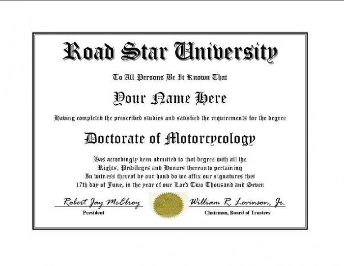 Diploma for Yamaha ROAD STAR motorcycle owner