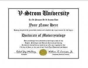 Diploma for Suzuki V STROM motorcycle owner