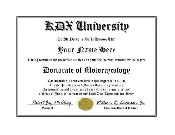 Diploma for Kawasaki KDX motorcycle owner