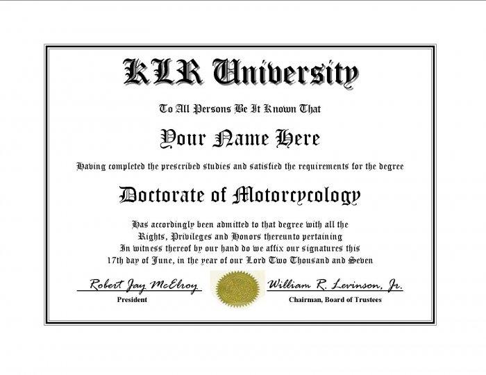 Diploma for Kawasaki KLR motorcycle owner