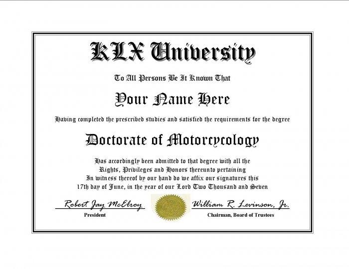 Diploma for Kawasaki KLX motorcycle owner