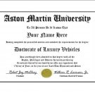 Diploma for Aston Martin luxury vehicle owner
