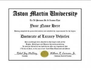 Diploma for Aston Martin luxury vehicle owner