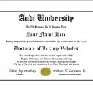 Diploma for Audi luxury vehicle owner