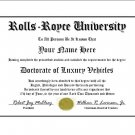 Diploma for Rolls Royce luxury vehicle owner
