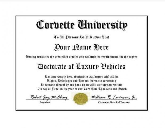 Diploma for Corvette luxury vehicle owner