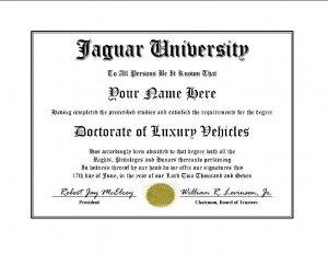 Diploma for Jaguar luxury vehicle owner