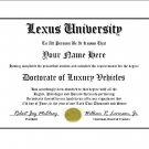 Diploma for Lexus luxury vehicle owner