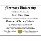 Diploma for Mercedes luxury vehicle owner
