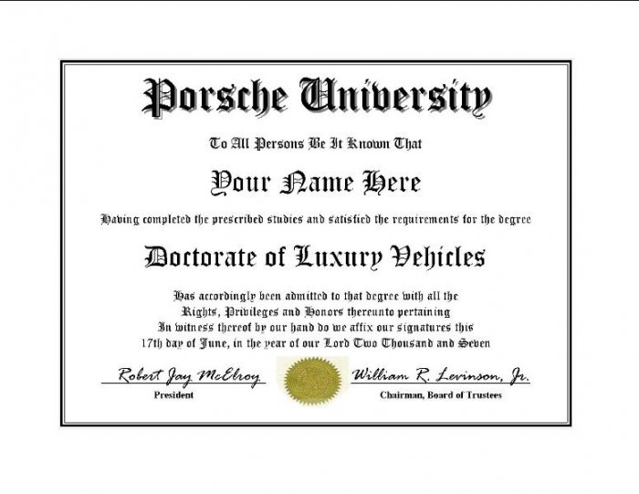 Diploma for Porsche luxury vehicle owner