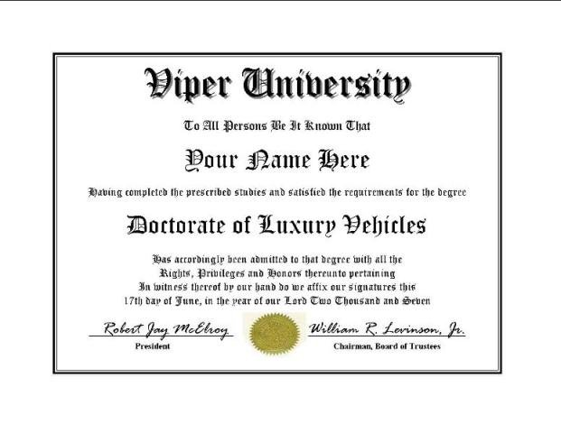 Diploma for Viper luxury vehicle owner