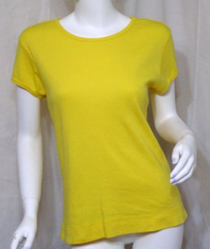 CHICO'S Yellow Short Sleeve Spring T-shirt Top 1 S NWT