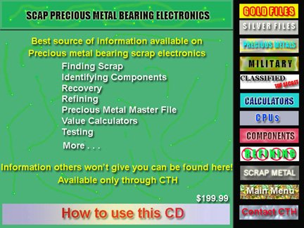 Gold bearing scrap electronic scrap Identifying and recovering