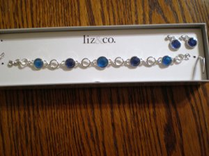 Liz & Co blue bracelet earrings set jewelry NEW NIB