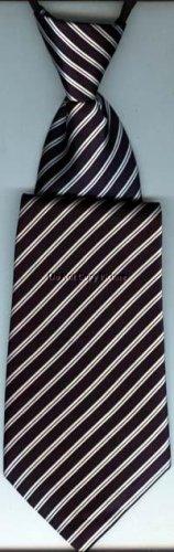 Boys Necktie No-Tie Zipper Neck Tie Navy Blue & White Stripes #ZTB229