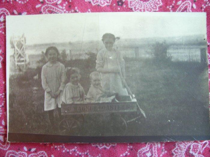 SALE** Vintage Photographic Postcard- 4 girls and a wagon