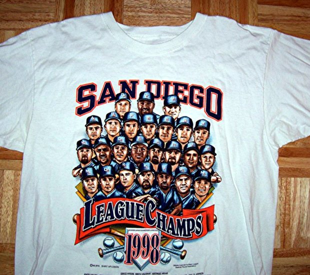 Vintage Padres Baseball tee shirt. 1998 League Champs. Team portraits Large and XL