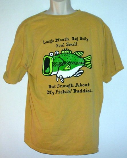Bass pro shops funny fishing buddies tee shirt cotton large for Funny fishing t shirts