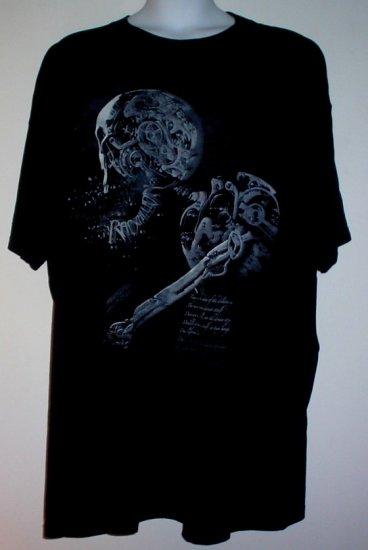 Tattoo tee shirt Rapscallion Robot Skull  Goth cotton 6X