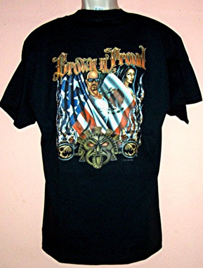 Brown N Proud tee shirt with American and Mexican flags Delta size Large L