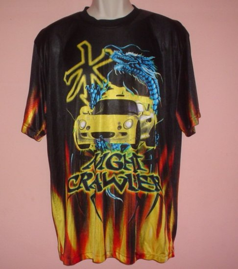 Sheer poly tee shirt Night Crawler Car racing Street racing Night racing size Large L