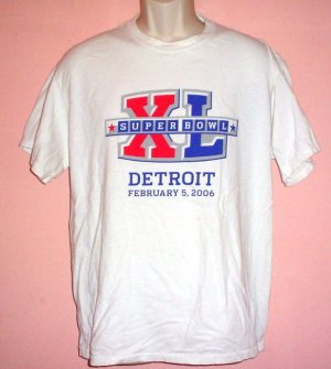 Tee shirt Michigan Super Bowl XL Detroit 2006 Size Large L