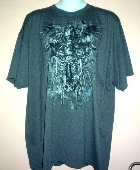 Tattoo tee shirt Skeleton knight helmet roses key Goth  4XL Tall