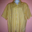 Mans shirt Celebrity wrinkle free short sleeve striped 55% cotton 45% polyester Size 3XL