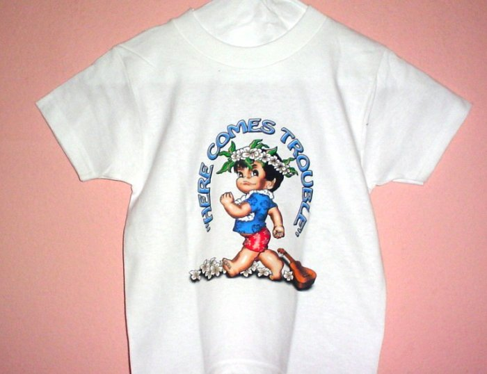 Toddlers tee shirt 4T HERE COMES TROUBLE Boy White cotton Top Quality.