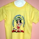 Childrens tee shirt Size 2 - 4 HERE COMES TROUBLE Girl Yellow cotton Top quality