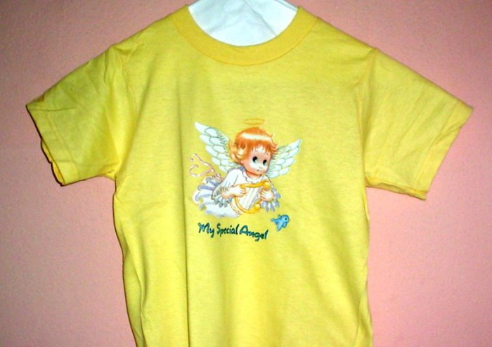Girls tee shirt MY SPECIAL ANGEL  Size 2 - 4 Yellow cotton Top Quality