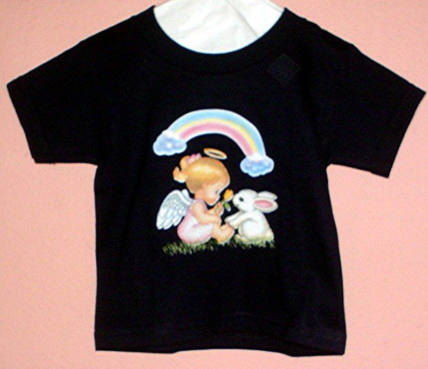 Toddlers tee shirt 2T ANGEL RAINBOW AND BUNNY Black cotton Top Quality