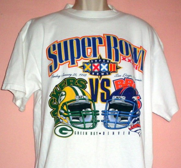 Super Bowl XXXII tee shirt January 25 1998 Packers vs Broncos Size Large L