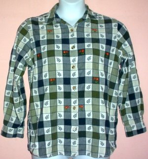 Womans textured cotton shirt  checked pattern Casey & Max embroidered Large L Chest 42 inches