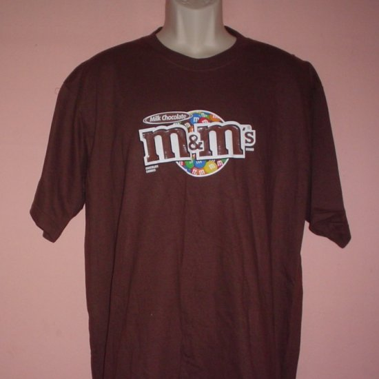 M&Ms milk chocolate candy tee shirt Brown cotton Size Large L